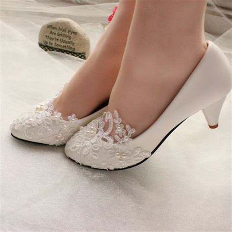 Ready Tb Flat Shoes 4 lace white ivory wedding shoes bridal flats low high heel size ebay