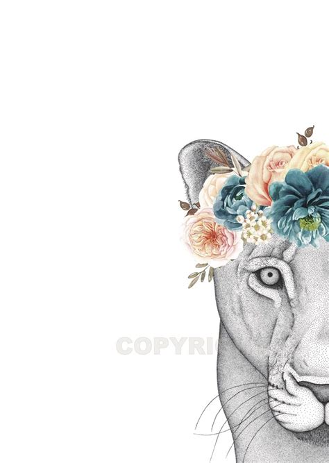 flower crown tattoo image of the lioness with flower crown tattoos