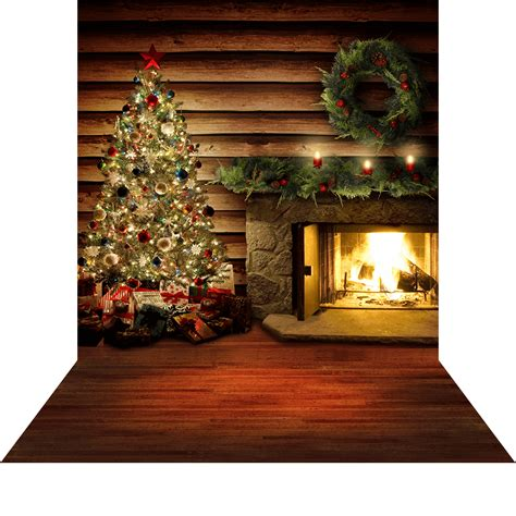 Log Cabin Floors by Holiday Hearth Log Cabin With Christmas Tree Photo