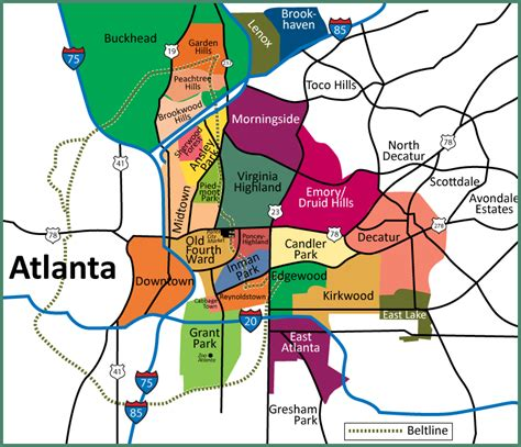 city of atlanta zip code map map of atlanta neighborhoods intown atlanta map showing