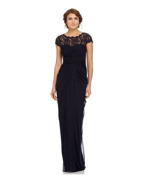 adrianna papell draped illusion lace neckline gown adrianna papell draped illusion lace neckline gown in
