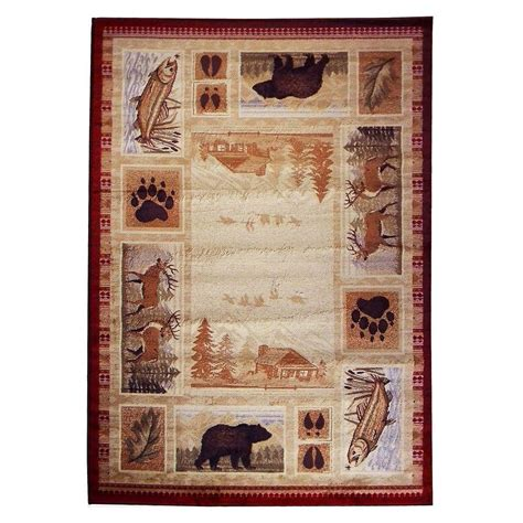 Deer Area Rugs Donnieann Wilderness Design Lodge Deer Fish And Paw Print Beige 5 Ft 2 In X 7 Ft 1 5 In