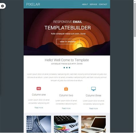 2 column responsive email template choice image