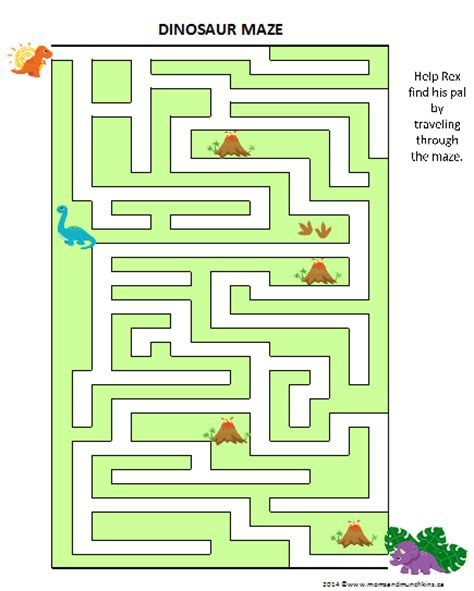 printable dinosaur maze dinosaur game free printable maze moms munchkins