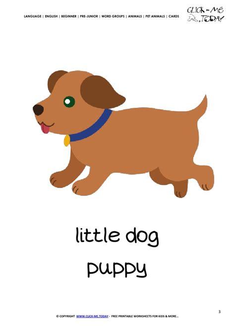 printable pet animal puppy wall card puppy flashcard