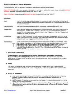 agency artist contract template uk use only