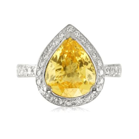 Stunning Pear Shaped Yellow Sapphire Engagement Ring   The