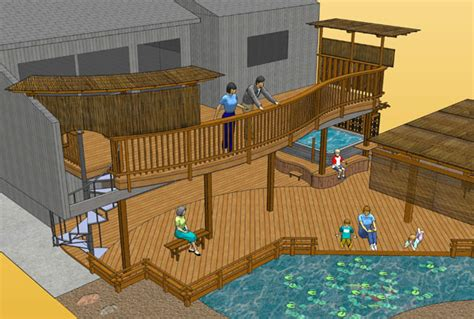 Japanese Style Home Plans Pond Deck