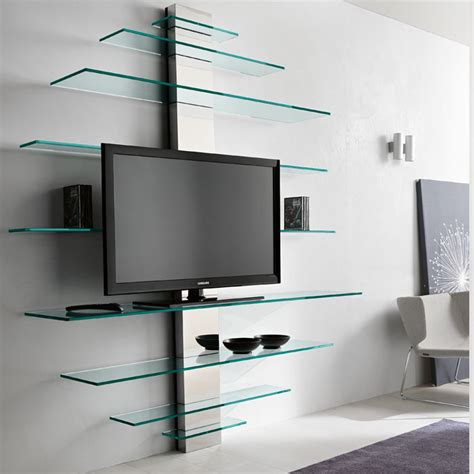 tv shelf design tonelli mondovisione glass tv wall shelving unit panik