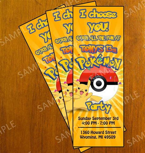 printable personalized tickets pokemon personalized birthday party invitation pokemon