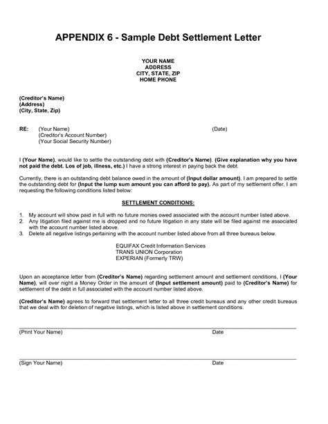 debt settlement agreement template related keywords suggestions for settlement letter
