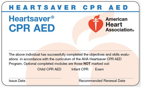 heartsaver cpr aed card template american association cpr bls classes nj cpr