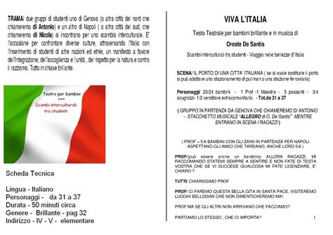 viva testo viva l italia testo teatrale per bambini e ragazzi di