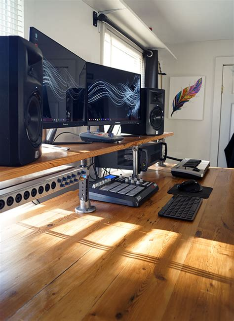 project studio desk reclaimed wood diy studio desk projects simplified