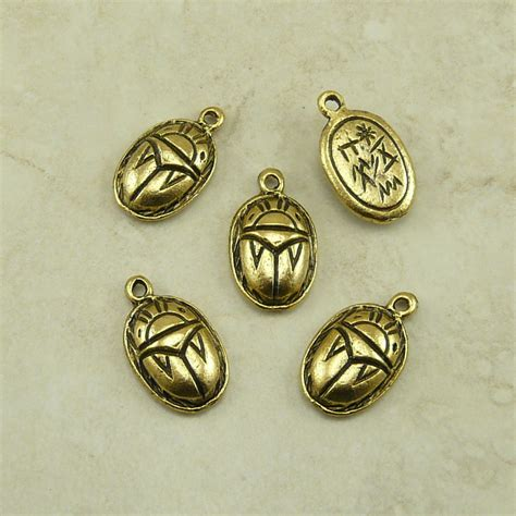 5 scarab beetle charms hieroglyphics symbol