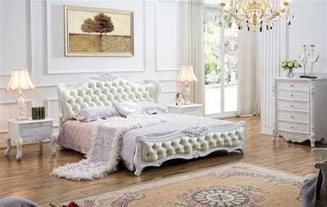 High end solid wood and leather bed bedroom furniture baroque bedroom set luxury bedroom