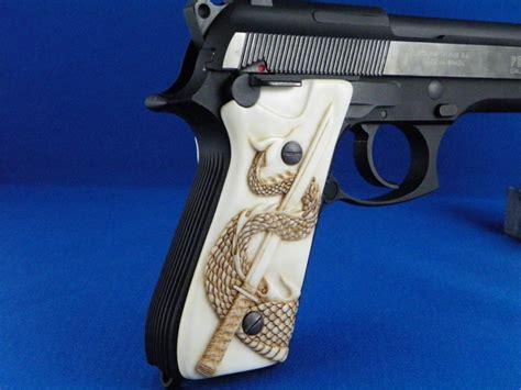 Handmade Gun Grips - faux ivory pistol grips custom woodcraft studio