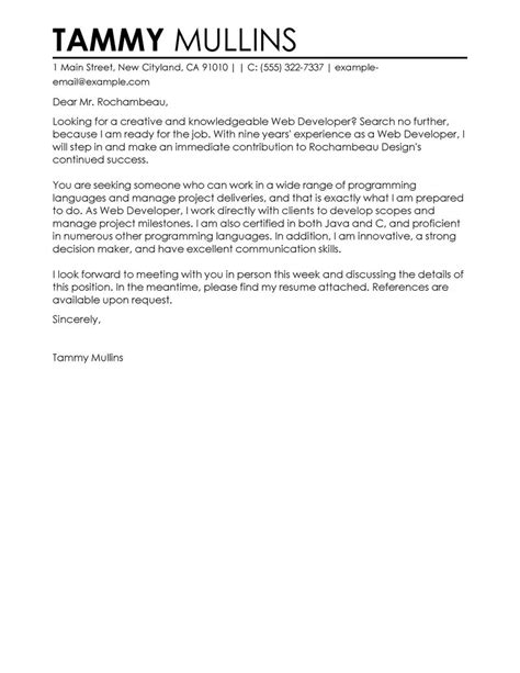 Web Developer Cover Letter by Web Developer Cover Letter Exles It Sle Cover Letters Livecareer