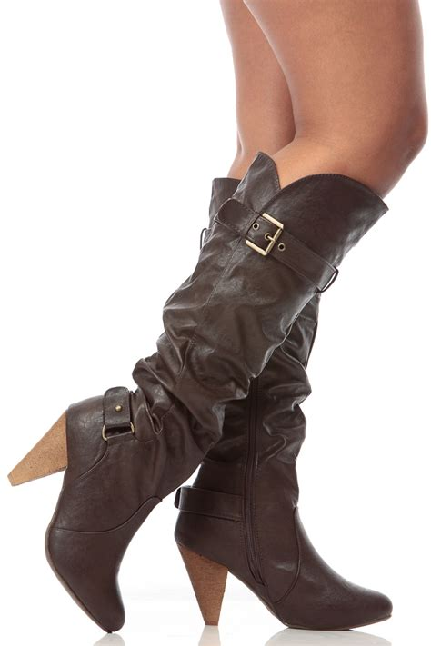 brown faux leather knee high slouch cone heel boots