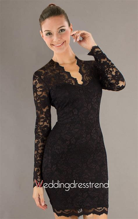Best Fashionable V Neck Long Sleeve Knee length Lace Dress   Shop Online for Dresses at Low Prices