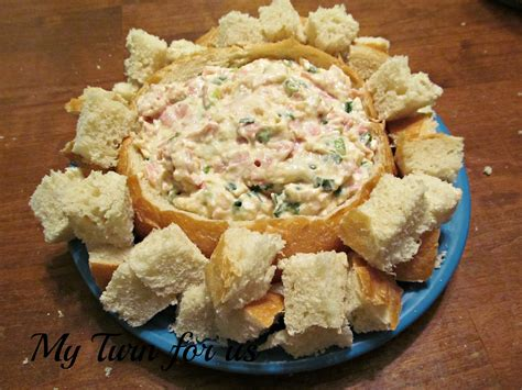 my turn for us easy shrimp dip in bread bowl