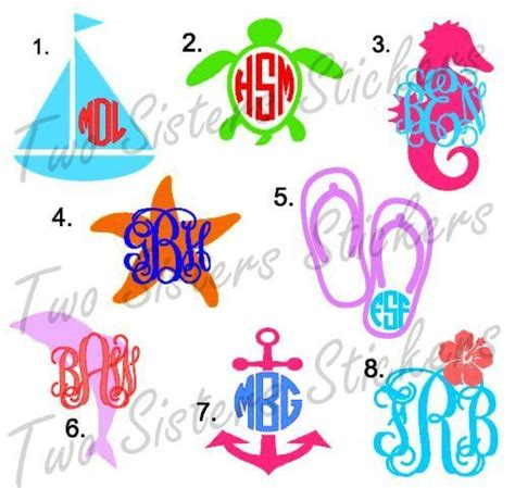 monogram ideas beach nautical monogram decal vinyls monogram decal and