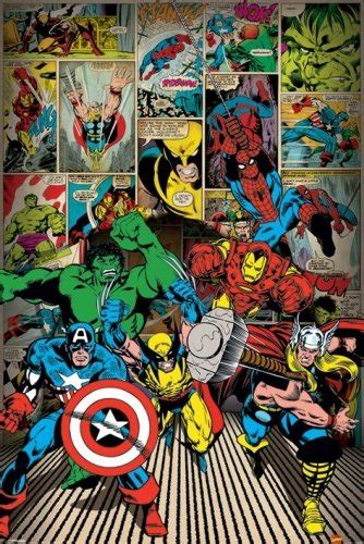 Spiderman Curtains Marvel Comics Superheroes Collage Poster Geek Decor