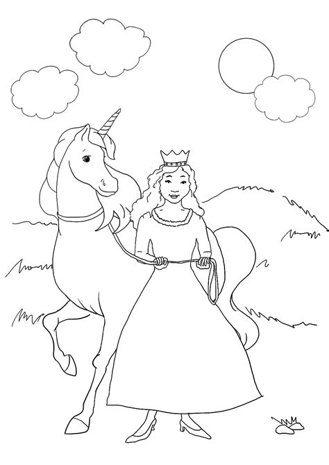 coloring pages unicorn princess princess coloring pages