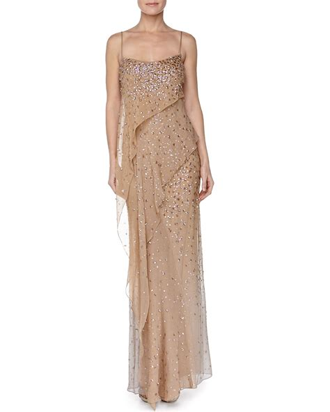 draped evening gown donna karan embroidered asymmetric draped evening gown