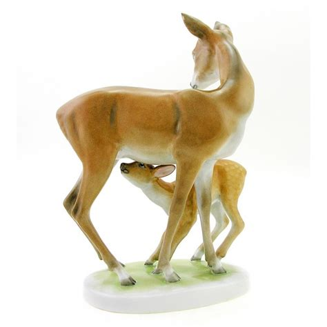 porcelain deer hungarian porcelain herend deer with fawn figurine