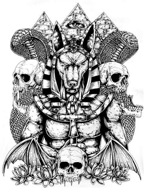 tattoo flash god anubis back tattoo on behance