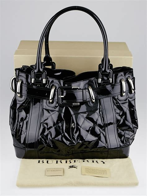 Burberry Quilted Patent Beaton Shopper by Burberry Black Quilted Patent Leather Large Beaton Bag