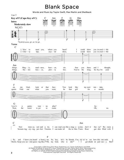 taylor swift chords getaway car blank space sheet music direct