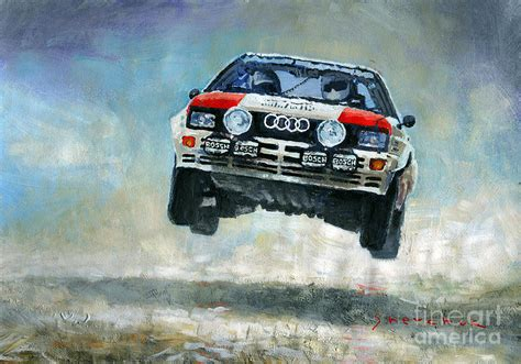 Kaos Print Umakuka Original Rally Car audi quattro gr 4 1982 painting by yuriy shevchuk