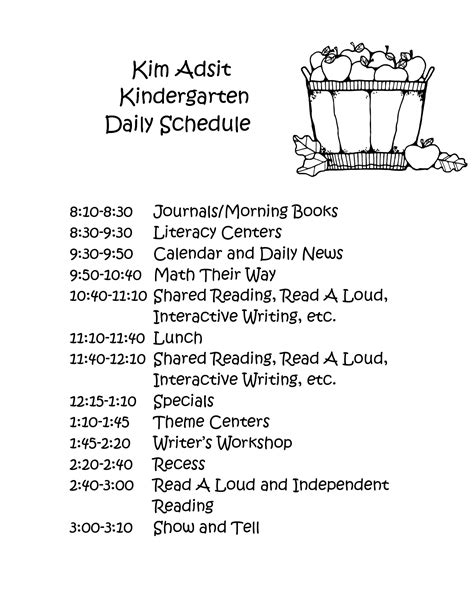 kindergarten timetable template day kindergarten class schedule adsit