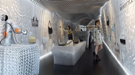 green retail design robots  print eco store interior