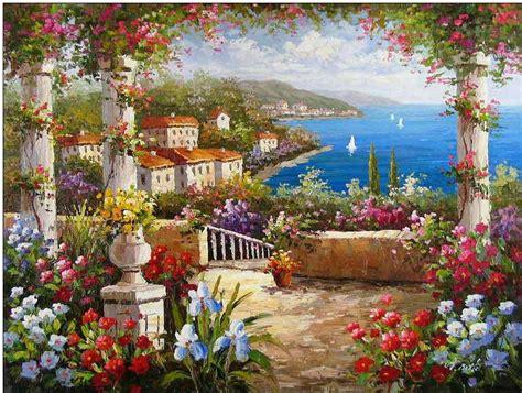 Large Flower Wall Murals mediterranean oil painting mediterranean italian villas