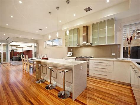 kitchens interiors modern island kitchen design using floorboards kitchen