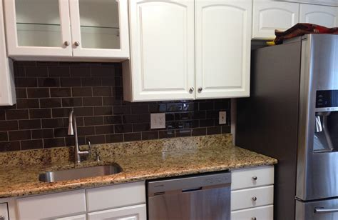 mini glass subway tile kitchen backsplash amys office