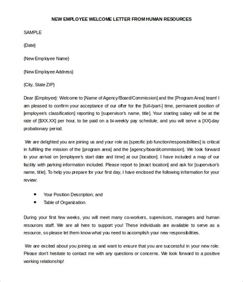 Hr Letter Sle Welcome Letter To New Employee Best Photos Of Sle New Employee Memo New Employee New Hire