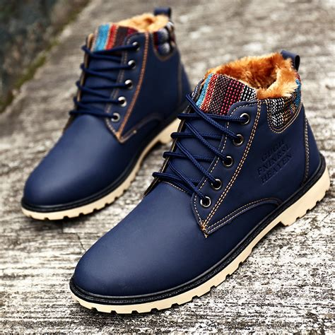 casual mens winter boots winter boots waterproof fashion blue boots with fur