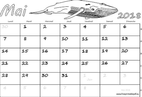 Calendrier 2018 Mensuel à Imprimer Calendrier Mensuel 224 Imprimer Mai 2018 Gratuit Pdf