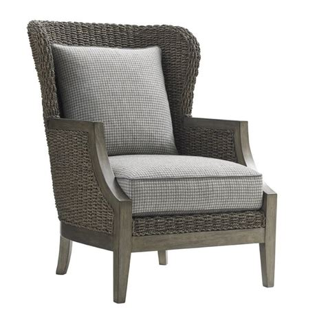 Plaid Chair by Oyster Bay Seaford Wicker Accent Chair In Gray