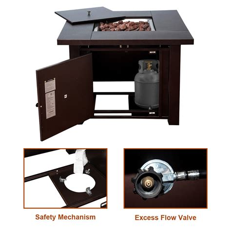 38 in square gas pit table costway costway 38 quot square patio heater propane gas