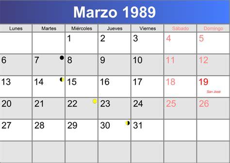 Calendario De 1989 Calendario Marzo 1989 Imprimible Pdf Abc Calendario Es