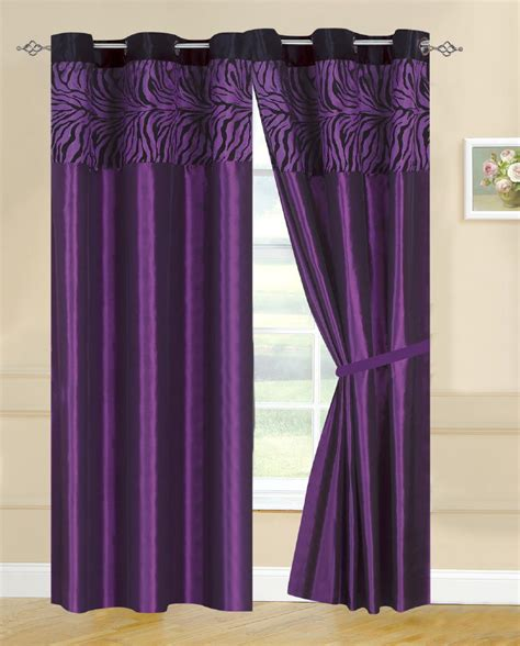 purple drapery panels 4 pc new zebra flocking purple satin grommet curtain set