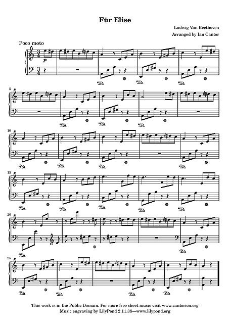 Für Elise Simplified - Piano - Partituras - Cantorion