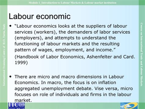 Labour Economics module 1 introduction to labour markets labour market