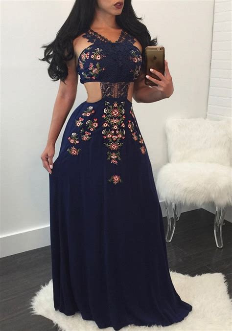 navy blue patchwork lace backless floral print vintage