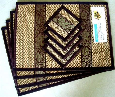 Table Mats And Coasters by 4 Thai Brown Elephant Silk And Reed Dining Table Mats